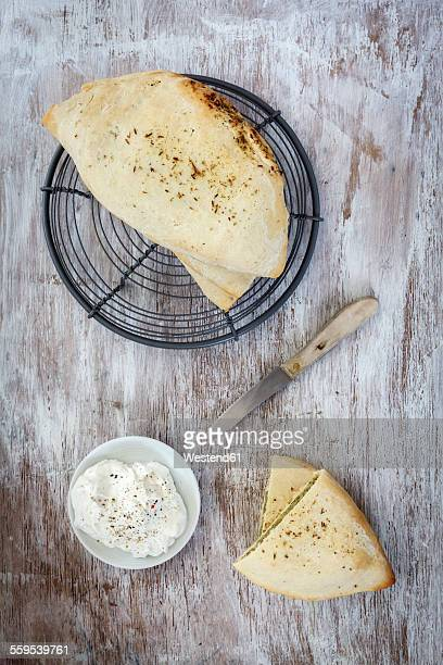 Home-baked naan bread filled with broccoli