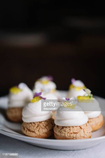 home-baked pastry, close-up - meringue stock pictures, royalty-free photos & images