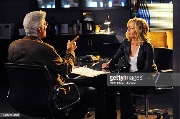Homecoming DB Russell has a chat with Julie Finlay and points something out on the 12th season finale of CSI CRIME SCENE INVESTIGATION Wednesday May...