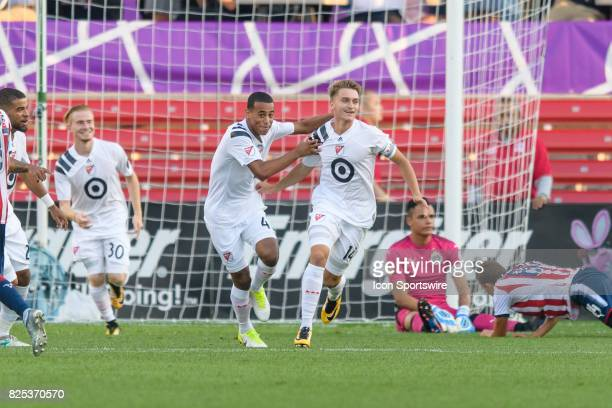 Homegrown and Chicago Fire midfielder Djordje Mihailovic celebrates a goal in the first half during a soccer match between the MLS Homegrown Team and...
