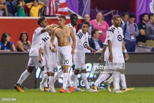 Homegrown and Colorado Rapids defender Kortne Ford celebrates his goal in the second half during a soccer match between the MLS Homegrown Team and...