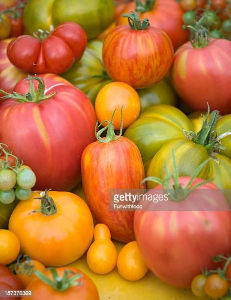 Lokale Bio-Gemüse, wertvollen Tomaten und Sommer Gemüse Hintergrund