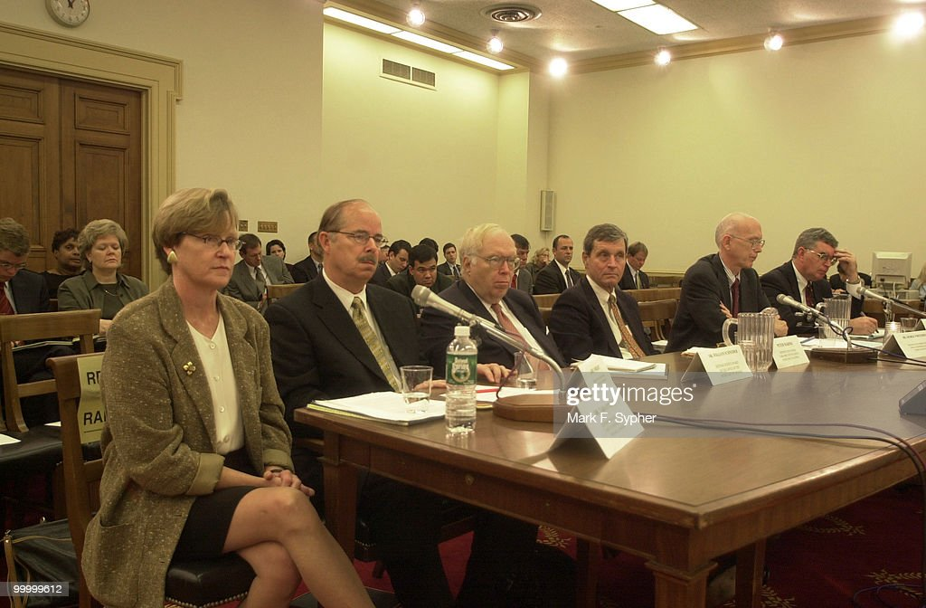 Homeland defense specialists, from left, Dr. Tara O'toole, Larry Wright, Dr. William Schneider, Peter Morris, Dr. George Whitesides, Dr. Roger Hagengruber, all testify on Wednesday at the Subcommittee on Terrorism and Homeland Security.
