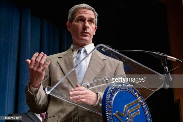 Homeland Security Acting Deputy Secretary Ken Cuccinelli speaks during a press conference on recent developments with the coronavirus with other...