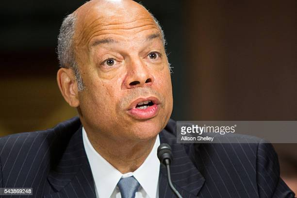 Homeland Security Chief Jeh Johnson testifies before the Senate Judiciary Committee on oversight of the Department of Homeland Security on June 30...