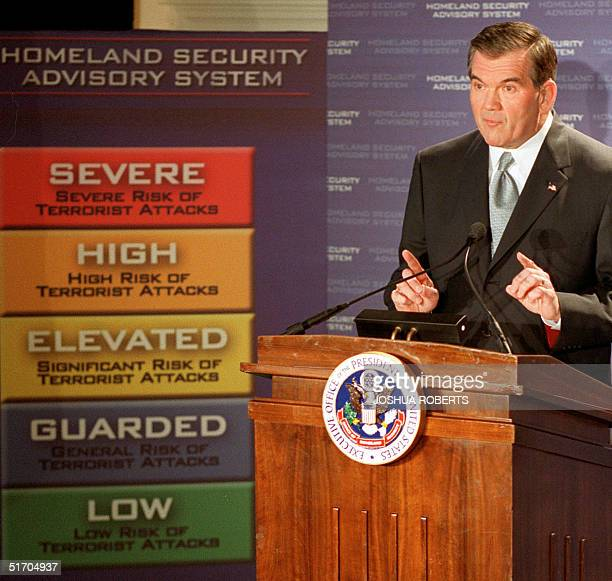 Homeland Security Chief Tom Ridge discusses the new color-coded US threat advisory system 12 March, 2002 in Washington, DC, which will allow the...