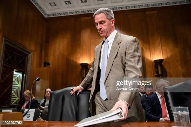 Homeland Security Deputy Secretary Ken Cuccinelli arrives to testify during a Senate Homeland Security Committee hearing on the government's response...