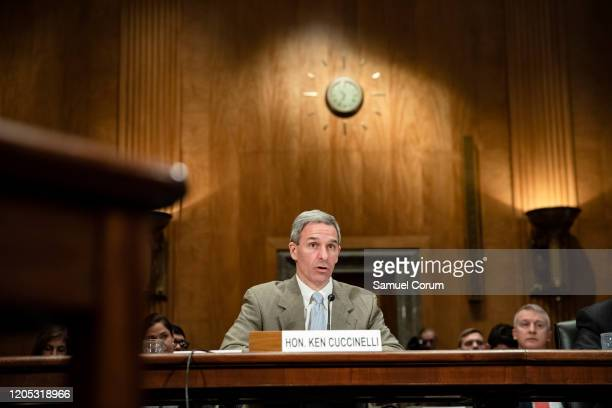 Homeland Security Deputy Secretary Ken Cuccinelli testifies before the Senate Homeland Security Committee during a hearing on the government's...