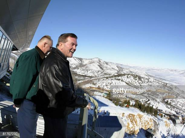 Homeland Security Director Tom Ridge and FEMA Director Joe Allbaugh looks over the Utah Olympic Park from the top of the K120 ski jump, 10 January,...