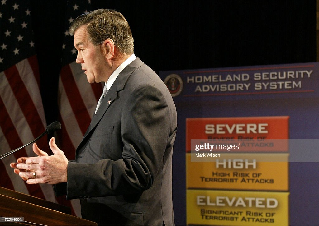 Tom Ridge Unveils Color Coded Security Warnings : News Photo