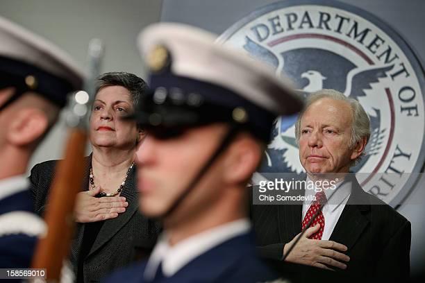 Homeland Security Secretary Janet Napolitano and Senate Homeland Security and Governmental Affairs Committee Chairman Sen Joseph Leiberman...