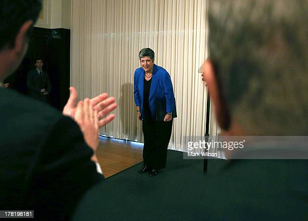 Homeland Security Secretary Janet Napolitano bows after delivering her farewell speech at the National Press Club August 27 2013 in Washington DC Her...