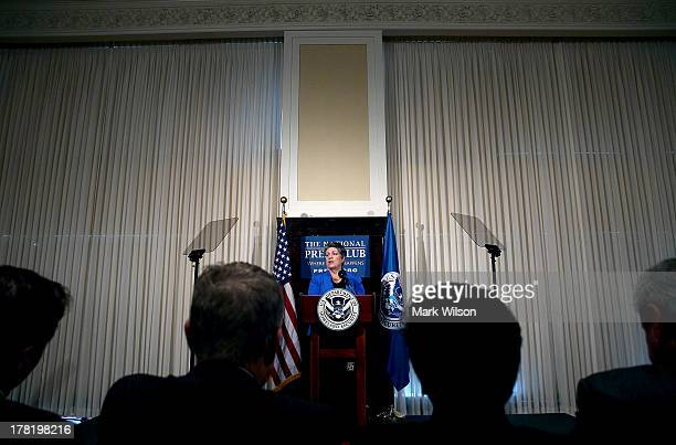 Homeland Security Secretary Janet Napolitano delivers her farewell speech at the National Press Club August 27 2013 in Washington DC Her replacement...