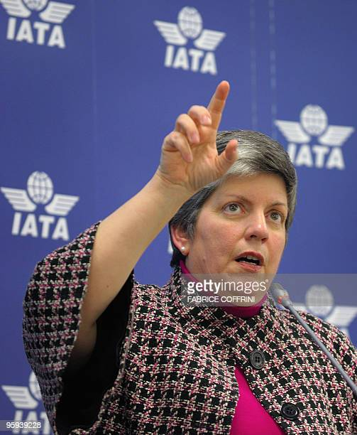 US Homeland Security Secretary Janet Napolitano gestures during a news conference on January 22 2010 after a meeting with with members of the...