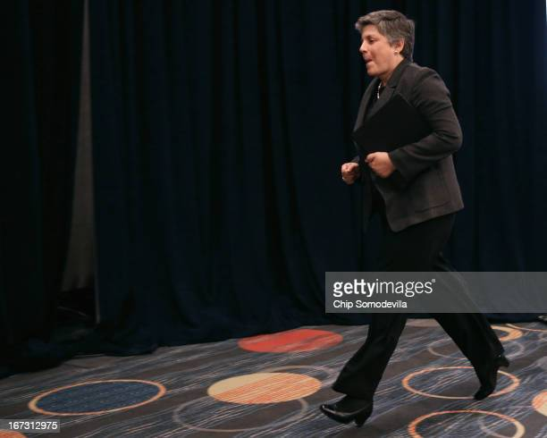 Homeland Security Secretary Janet Napolitano jogs to the stage before addressing the American Hotel and Lodging Association's 2013 Legislative Action...
