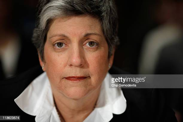 Homeland Security Secretary Janet Napolitano prepares to testify before the Senate Homeland Security and Governmental Affairs Committee on border...