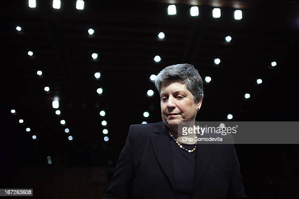 Homeland Security Secretary Janet Napolitano prepares to testify before the Senate Judiciary Committee on Capitol Hill April 23 2013 in Washington DC...