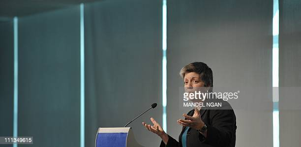 US Homeland Security Secretary Janet Napolitano speaks during an event at The Newseum April 1 2011 in Washington DC AFP PHOTO/Mandel NGAN