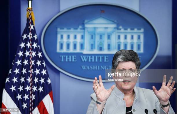 S Homeland Security Secretary Janet Napolitano speaks during the White House daily briefing at the James Brady Press Briefing Room of the White House...