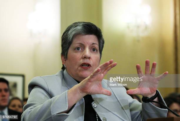Homeland Security Secretary Janet Napolitano testifies during a House Homeland Security Committee hearing on Capitol Hill on February 25 2010 in...