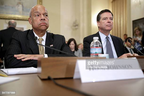 Homeland Security Secretary Jeh Johnson and FBI Director James Comey testify before the House Homeland Security Committee in the Canon House Office...