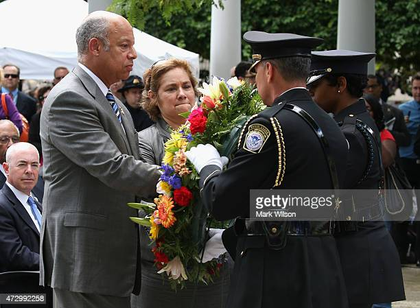 S Homeland Security Secretary Jeh Johnson and US Immigration and Customs Enforcement Director Sarah Saldana participate in the ICE Valor Memorial...