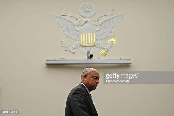 S Homeland Security Secretary Jeh Johnson arrives before testifying to the House Judiciary Committee about oversight of the department July 14 2015...
