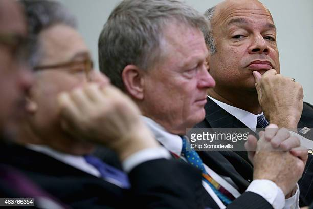 S Homeland Security Secretary Jeh Johnson attends the second day of the White House Summit on Countering Violent Extremism in the Eisenhower...