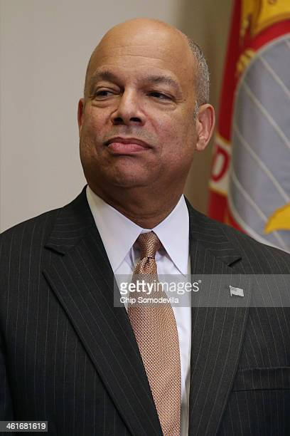 Homeland Security Secretary Jeh Johnson before he is ceremonially sworn in to office in the Roosevelt Room at the White House January 10 2014 in...