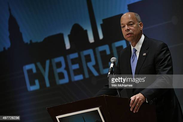 S Homeland Security Secretary Jeh Johnson delivers remarks at CyberCon 2015 November 18 2015 in Arlington Virginia Johnson spoke on the recent...