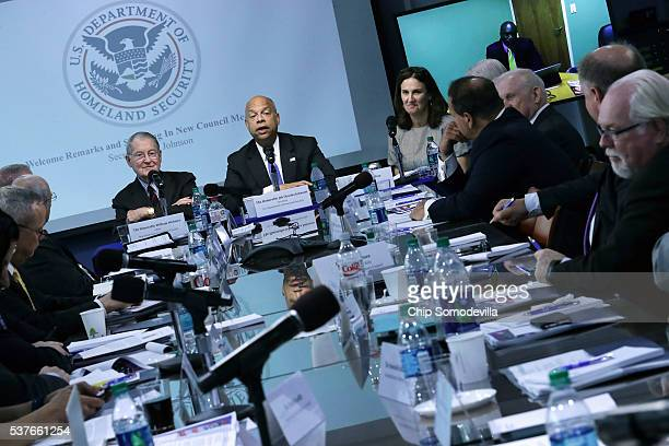 Homeland Security Secretary Jeh Johnson delivers remarks during a meeting of the Homeland Security Advisory Council with council Chairman William...