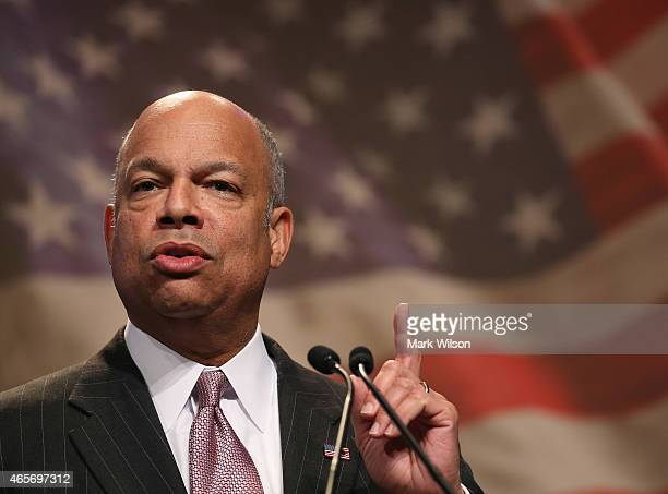Homeland Security Secretary Jeh Johnson speaks at the National League of Cities Congressional Conference March 9 2015 in Washington Secretary Johnson...