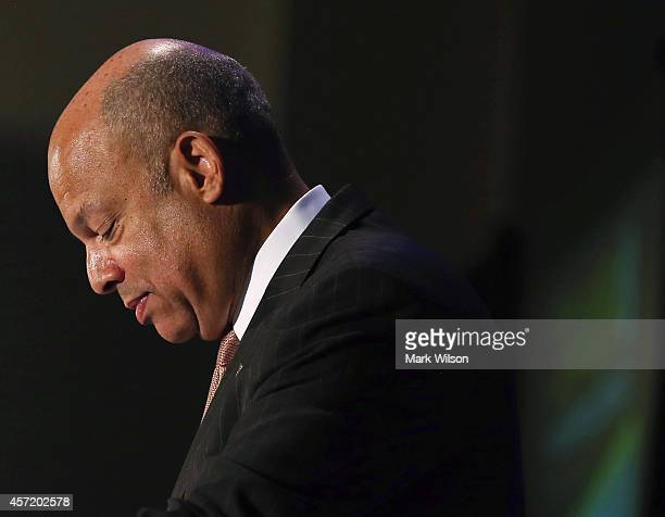 Homeland Security Secretary Jeh Johnson speaks during the Association of the United States Army conference at the Walter E Washington Convention...