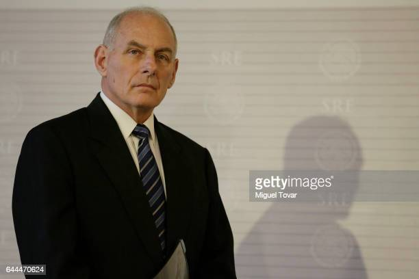 S Homeland Security Secretary John Kelly looks on during a press conference at the Mexican Chancellery on February 23 2017 in Mexico City Mexico Rex...