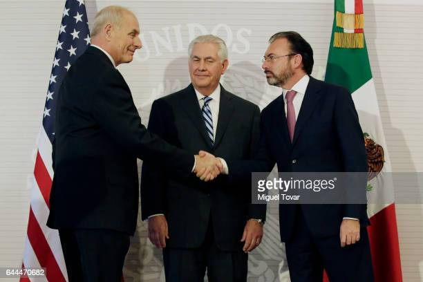 S Homeland Security Secretary John Kelly shakes hands with Mexico's Foreign Relations Secretary Luis Videgaray as US Secretary of State Rex Tillerson...