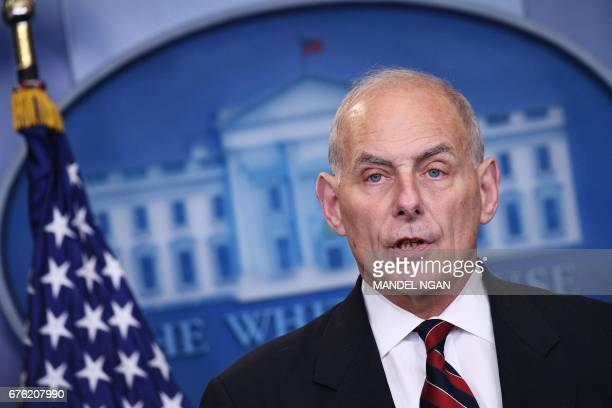 Homeland Security Secretary John Kelly speaks in the Brady Briefing Room of the White House on May 2 2017 in Washington DC / AFP PHOTO / Mandel NGAN