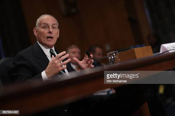 Homeland Security Secretary John Kelly testifies before the Senate Homeland Security and Governmental Affairs Committee on Capitol Hill June 6 2017...