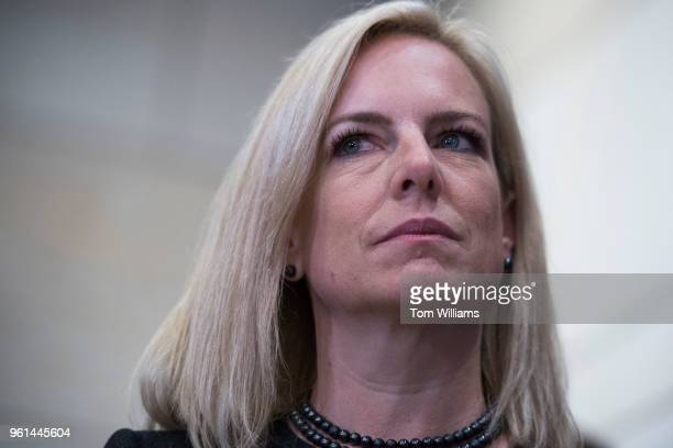 Homeland Security Secretary Kirstjen Nielsen addresses the media after a briefing on election security with House members in the Capitol Visitor...
