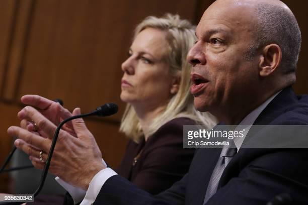 Homeland Security Secretary Kirstjen Nielsen and former Homeland Security Secretary Jeh Johnson testify before the Senate Intelligence Committee in...
