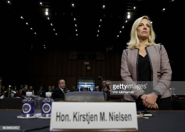 Homeland Security Secretary Kirstjen Nielsen arrives for a hearing held by the Senate Judiciary Committee January 16 2018 in Washington DC Sen...