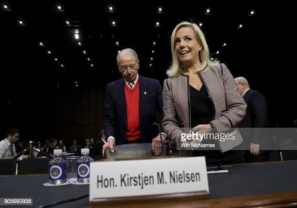 Homeland Security Secretary Kirstjen Nielsen arrives for a hearing with committee chairman Sen Chuck Grassley held by the Senate Judiciary Committee...