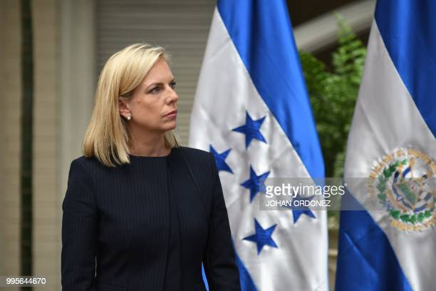 US Homeland Security Secretary Kirstjen Nielsen arrives for a joint press conference with authorities from Guatemala El Salvador Honduras and Mexico...