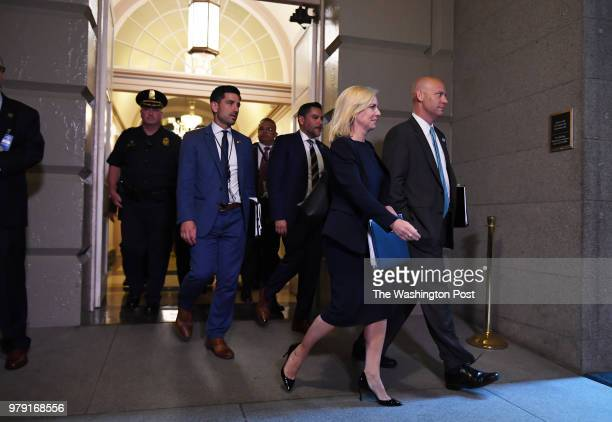 Homeland Security Secretary Kirstjen Nielsen arrives for a meeting attended by Speaker of the House Paul Ryan and President Donald Trump with House...