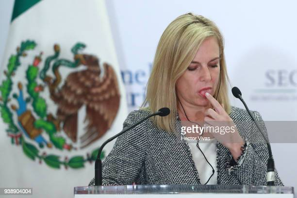 S Homeland Security Secretary Kirstjen Nielsen gestures during a press conference at the Mexican Government Office on March 26 2018 in Mexico City...