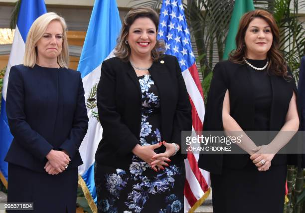 US Homeland Security Secretary Kirstjen Nielsen Guatemalan Foreign Minister Sandra Joviel and Honduran Secretary of Foreign Affairs Maria Aguero pose...