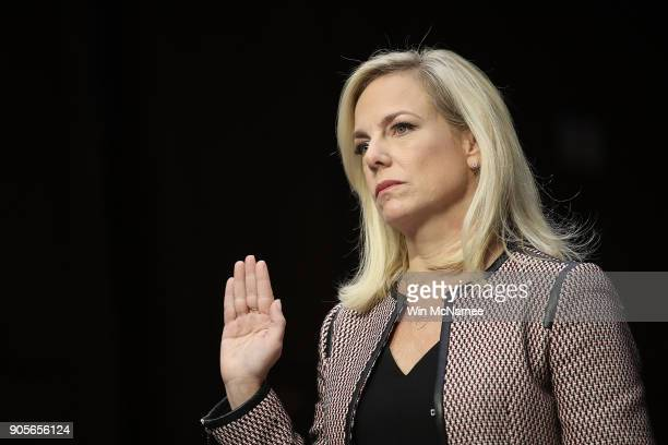 Homeland Security Secretary Kirstjen Nielsen is sworn in during a hearing held by the Senate Judiciary Committee January 16 2018 in Washington DC Sen...