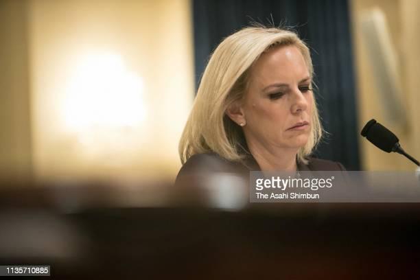 Homeland Security Secretary Kirstjen Nielsen is testified to the Congress on March 6 2019 in Washington DC