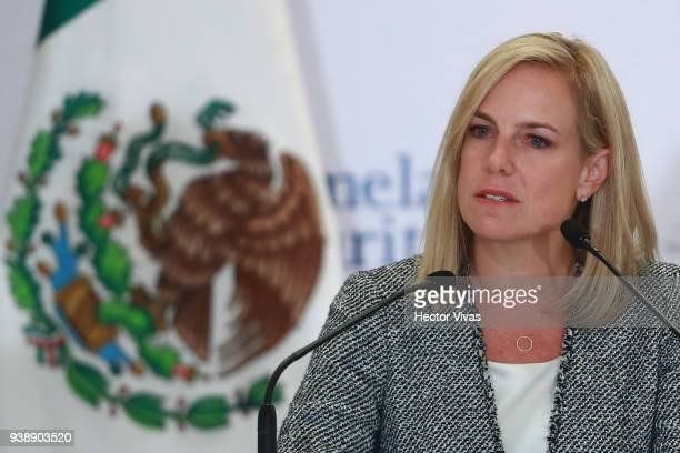 S Homeland Security Secretary Kirstjen Nielsen looks on during a press conference at the Mexican Government Office on March 26 2018 in Mexico City...