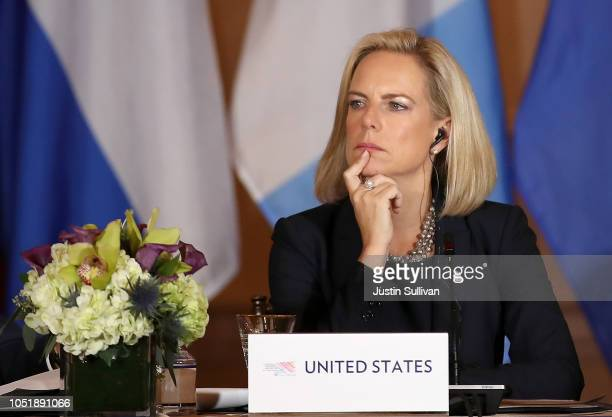 Homeland Security Secretary Kirstjen Nielsen looks on during the Conference for Prosperity and Security in Central America on October 11 2018 in...