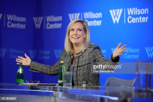S Homeland Security Secretary Kirstjen Nielsen participates in a discussion about the prevention of terrorist attacks at the Woodrow Wilson Center in...